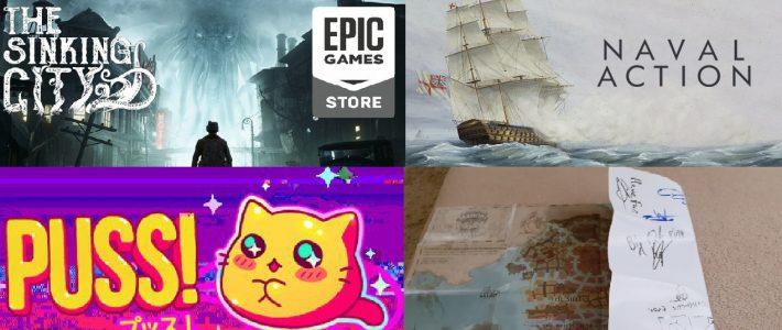 Розіграш трьох ігор і мапи Окмонта з автографами! The Sinking City (Epic Store). Naval Action (Steam). Puss! (Steam)